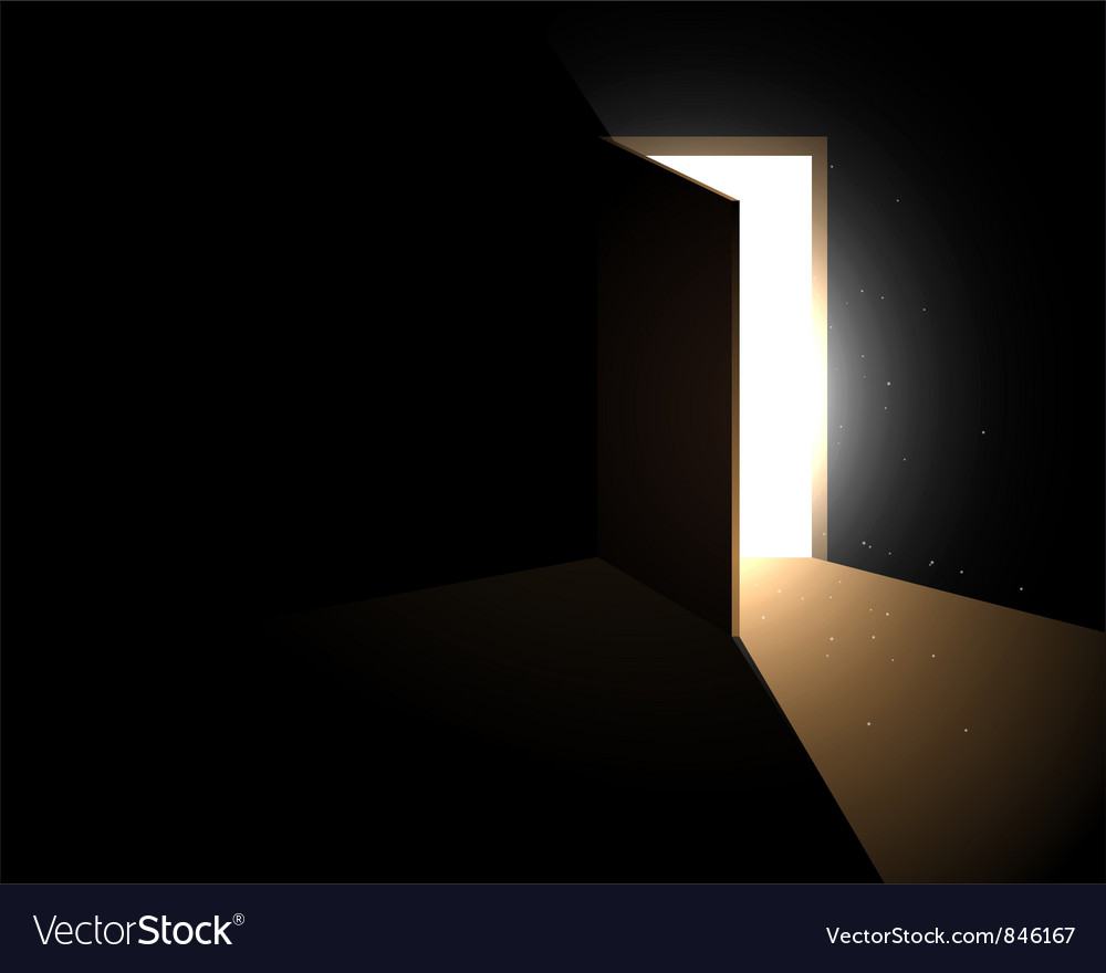 Light from the open door vector image