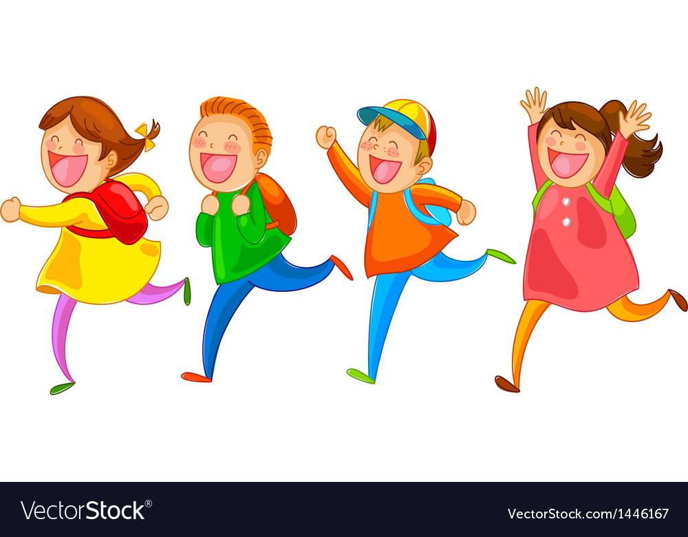 Happy school kids vector image