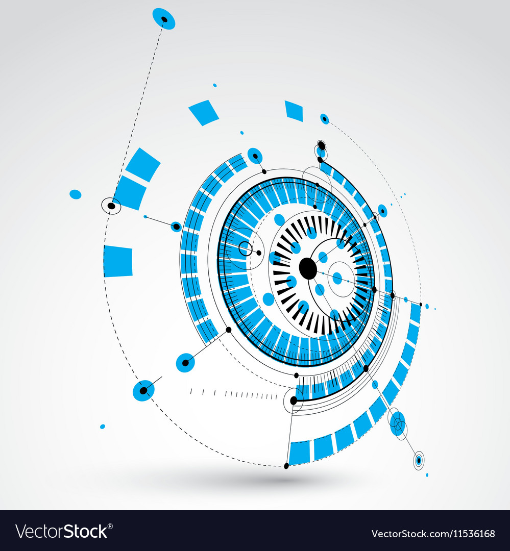 Geometric technology 3d drawing blue technical vector image