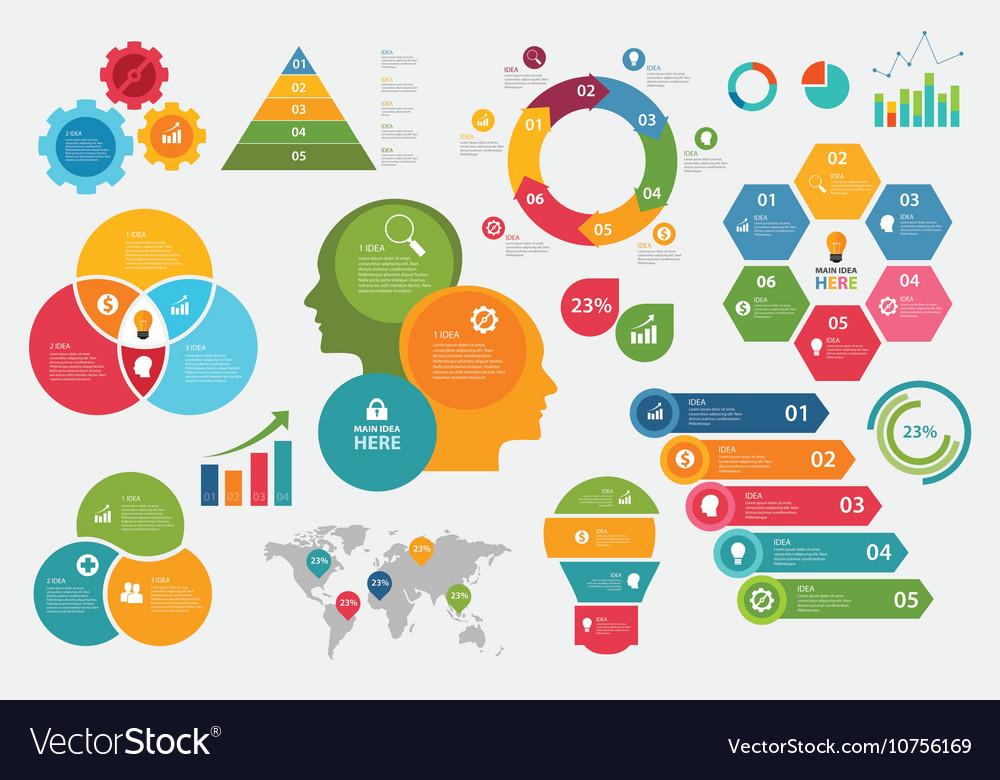 Info graphic set chart arrow steps vector image