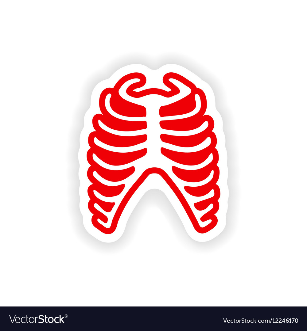 Paper sticker on white background bone ribs