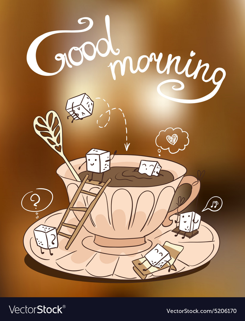 Cup of coffee with cute cubes of sugar vector image