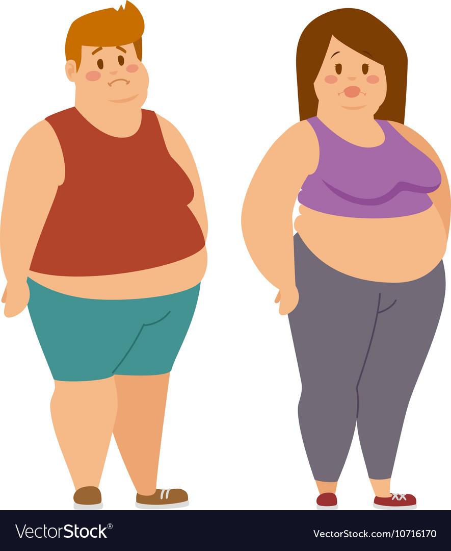 Fat cartoon people vector image