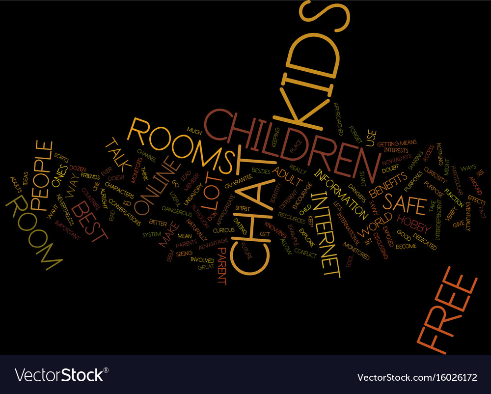 Free chat room for kids text background word vector image