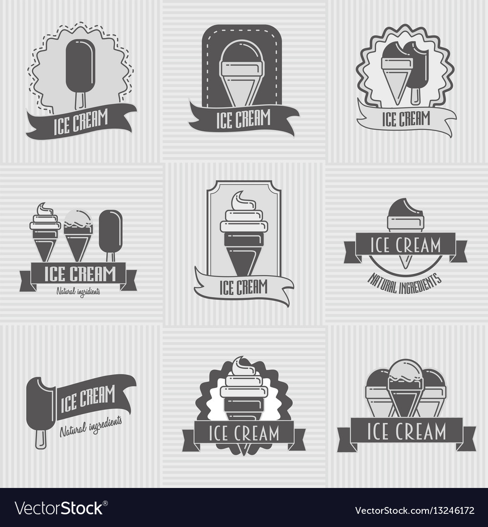 Set of ice cream logo badges labels templates Vector Image