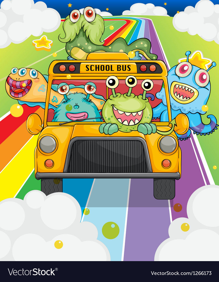 A school bus with monsters Vector Image