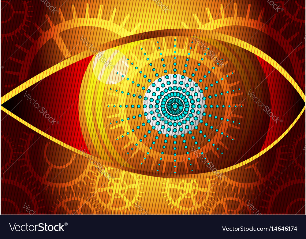 Curved Lines In Art : Eye design concept curved lines and gear gold vector image