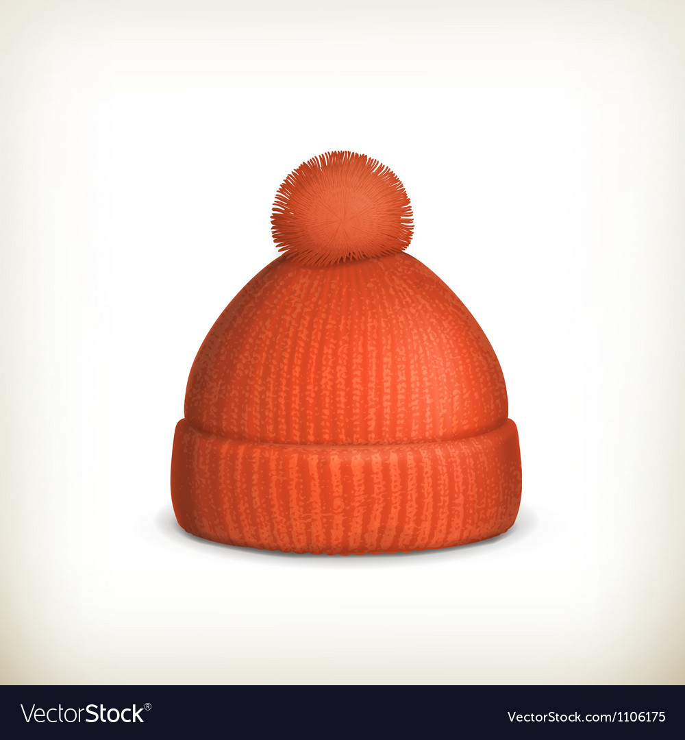 Knitted red cap vector image