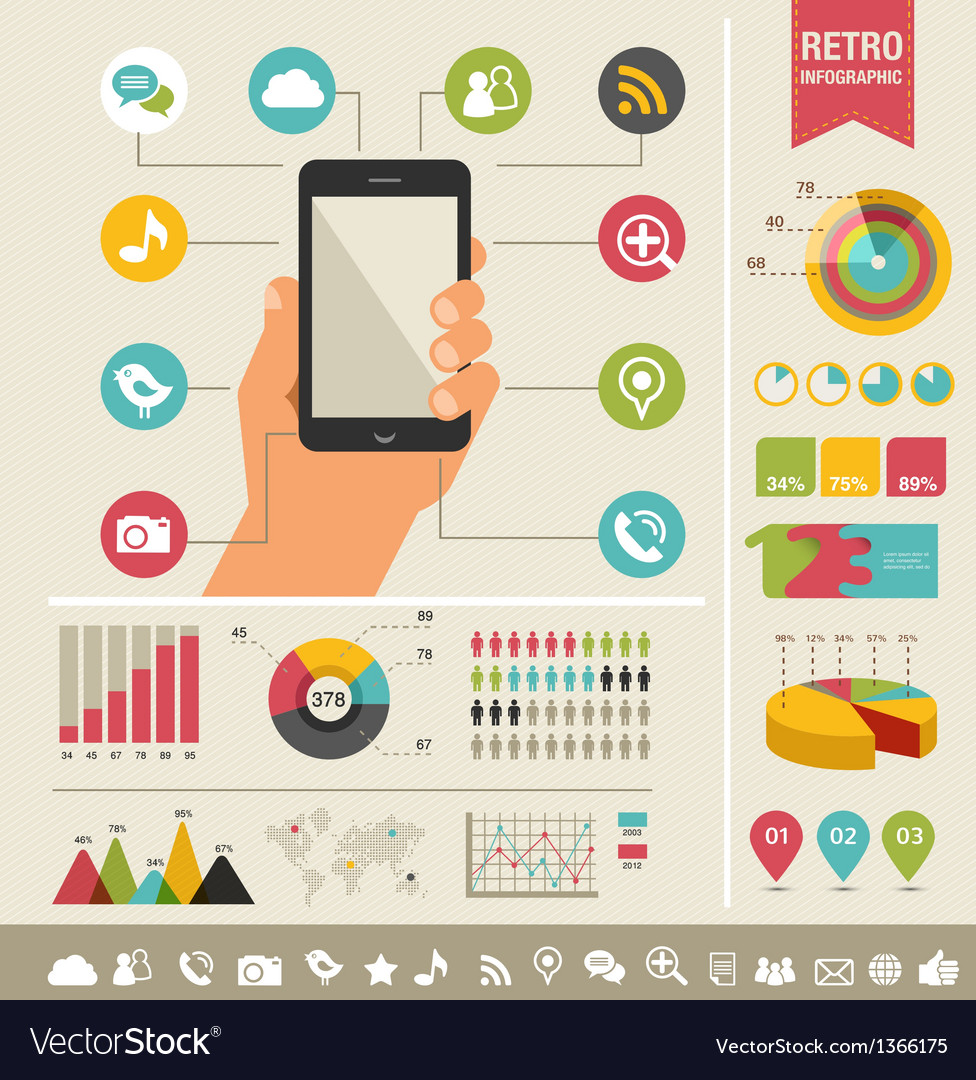 Mobile phone with icons - infographic and website vector image