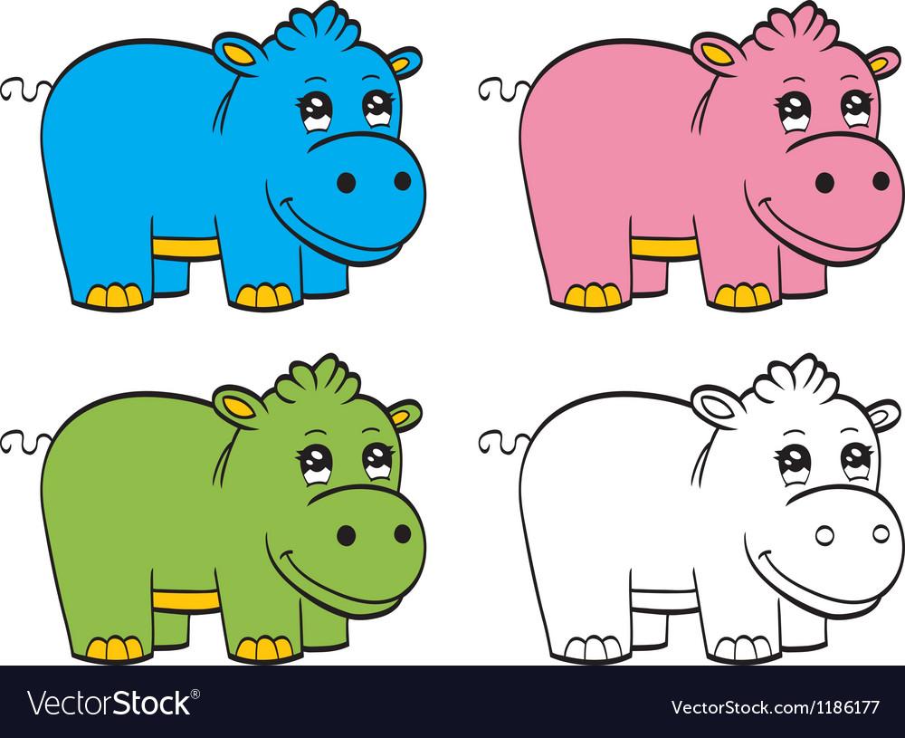 Cute cartoon baby hippo vector image