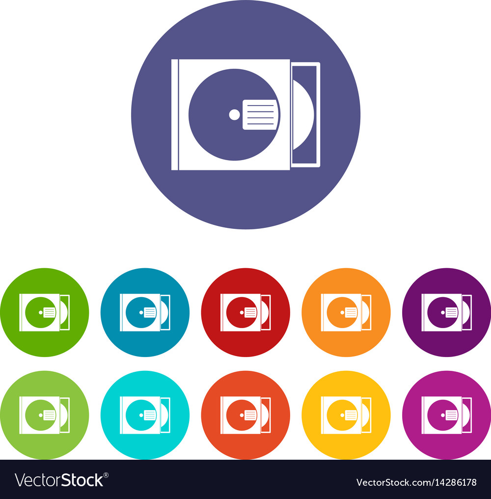 Cd box with disc icons set flat vector image