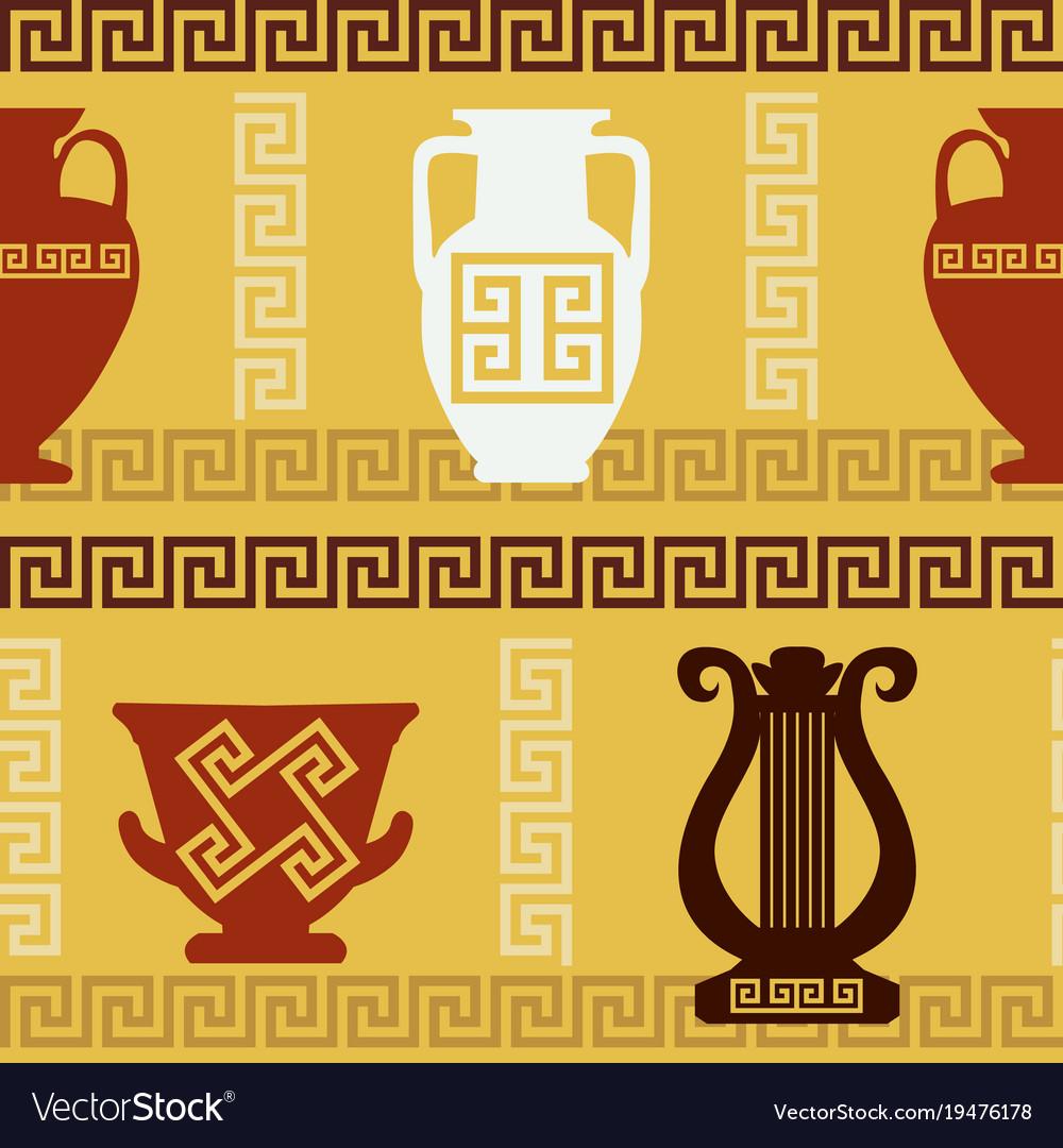 Greek art vases lyre meander seamless pattern vector image reviewsmspy