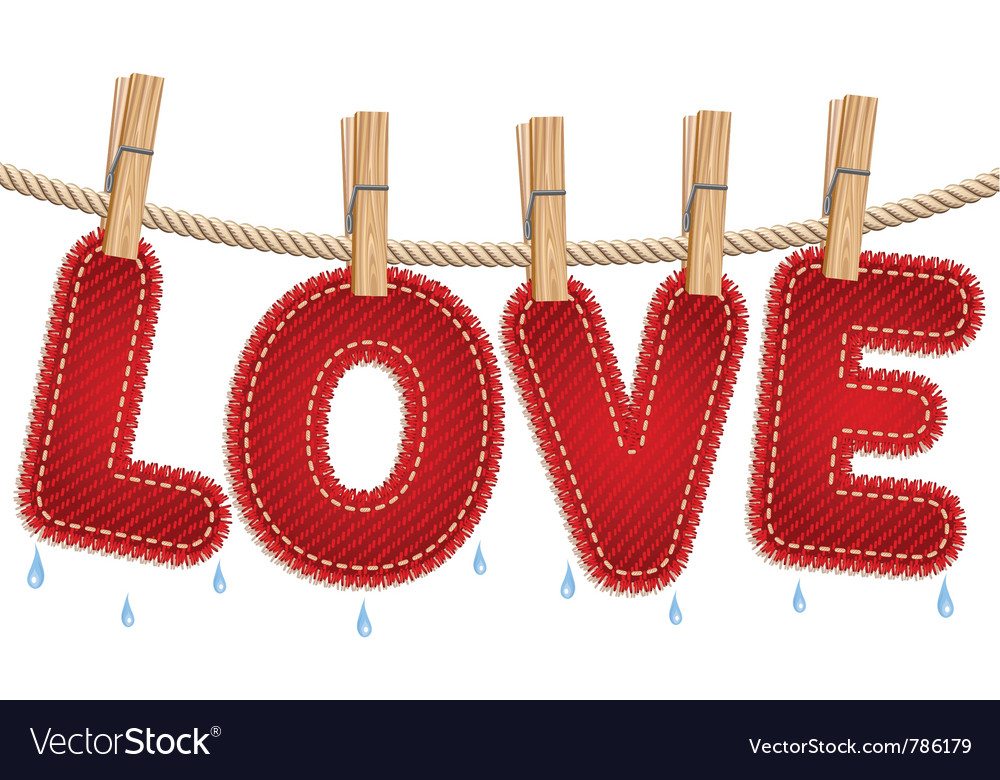 Jeans love drying on a clothesline Vector Image