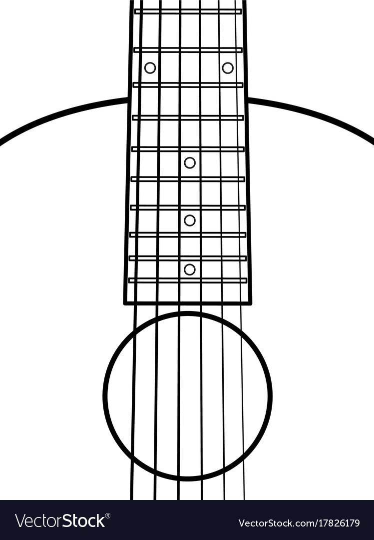 Acoustic guitar contour fragment vector image