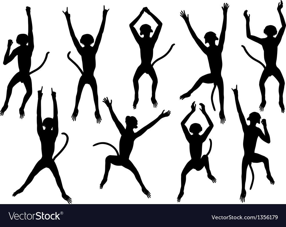 Jumping monkeys vector image