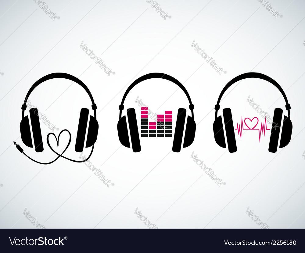 Creative music headphones logo set vector image