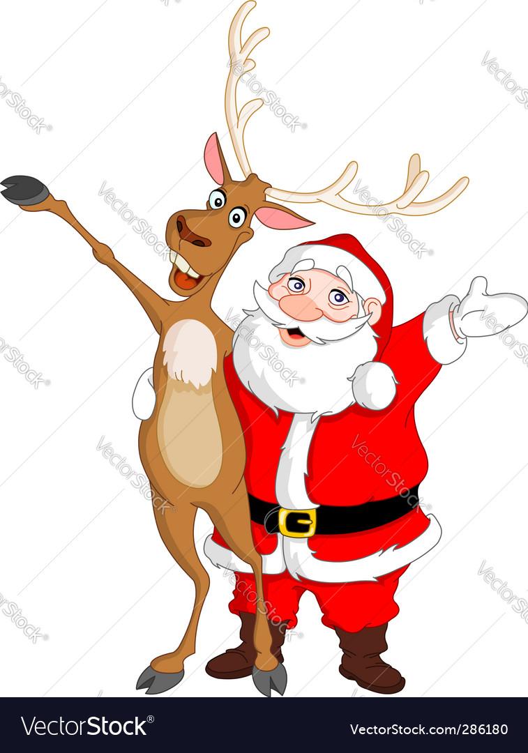 Santa and rudolph Royalty Free Vector Image - VectorStock