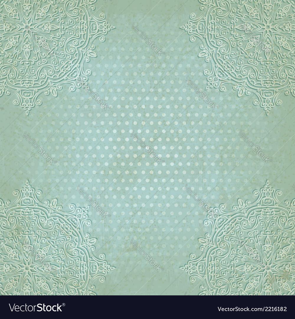 Blue lace grunge polka dot pattern old background vector image