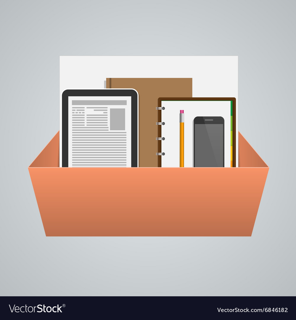 Business box with office supplies Creative concept vector image