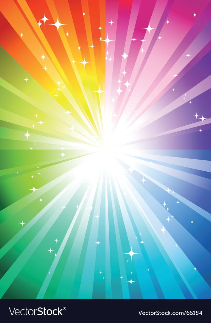Rainbow sunburst vector image