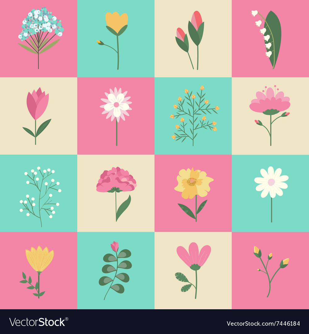 Set of pastel colors flowers concept vector image