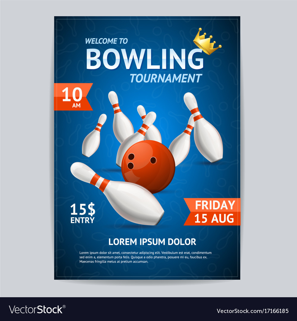 Bowling Tournament Poster Card Template Vector Image  Bowling Flyer Template Free