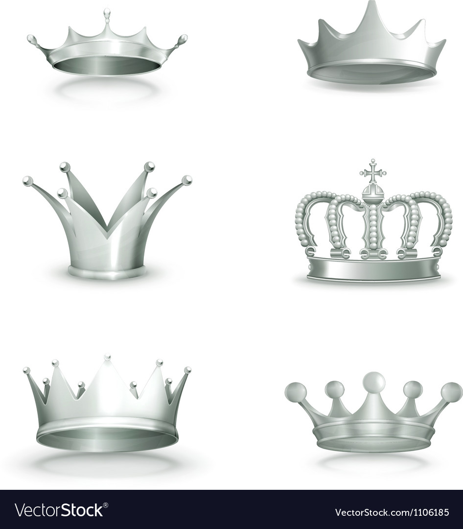 Silver crowns set vector image
