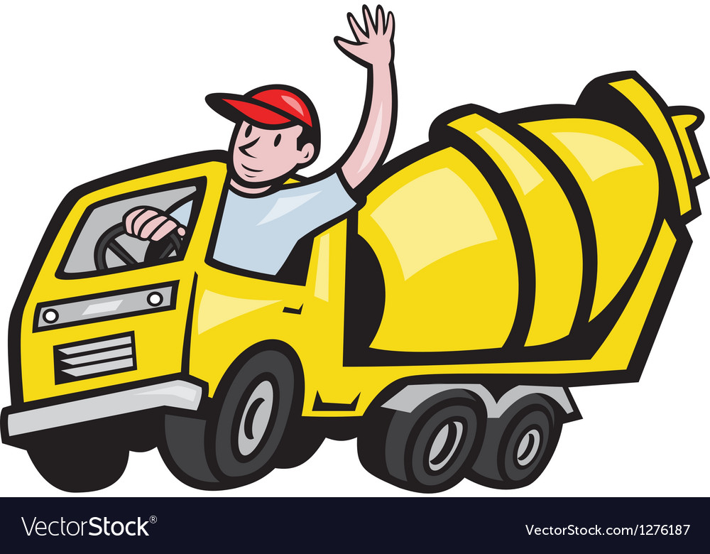 Construction Worker Driver Cement Mixer Truck vector image