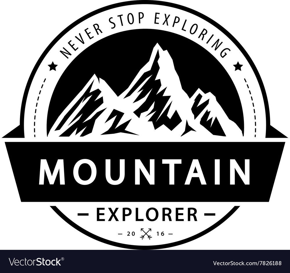 Mountain logo emblem Adventure retro vector image