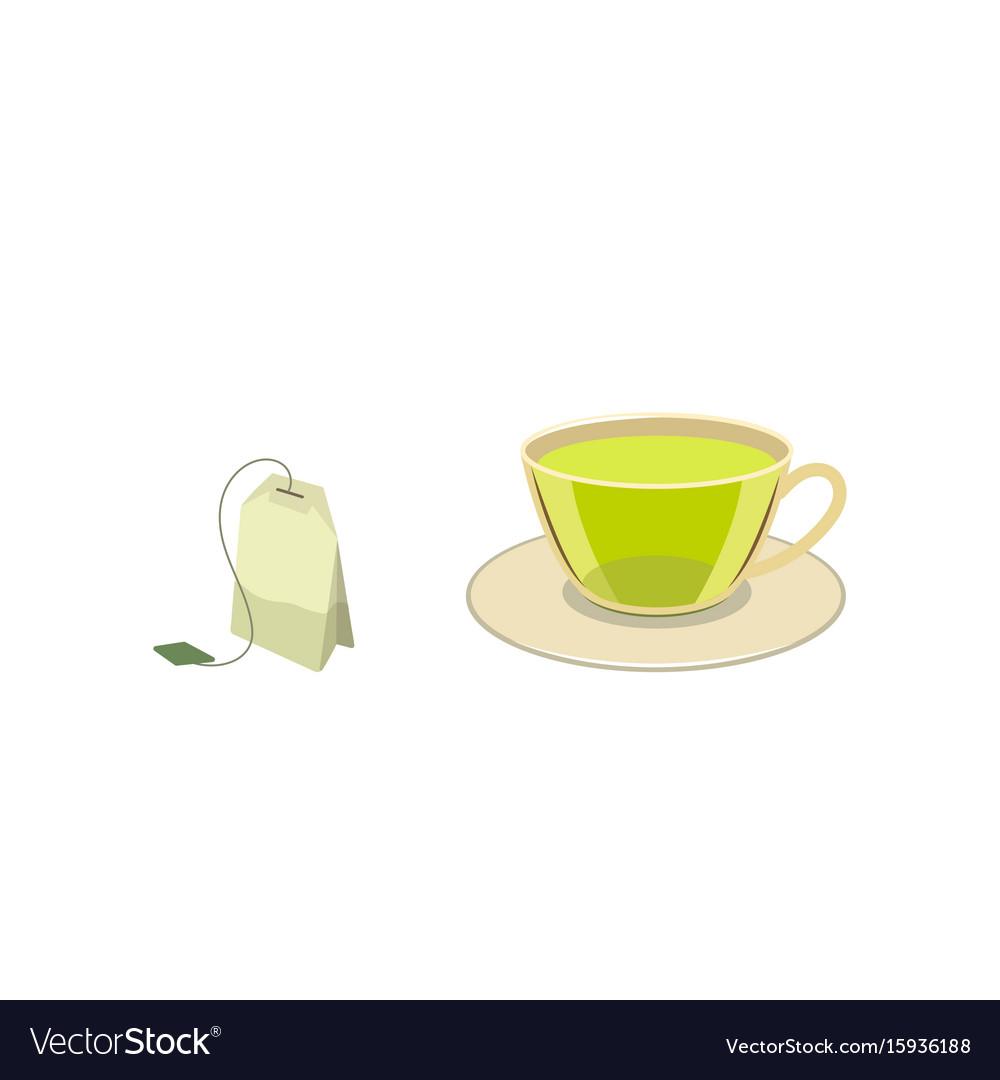 Cap of green tea with bag flat vector image
