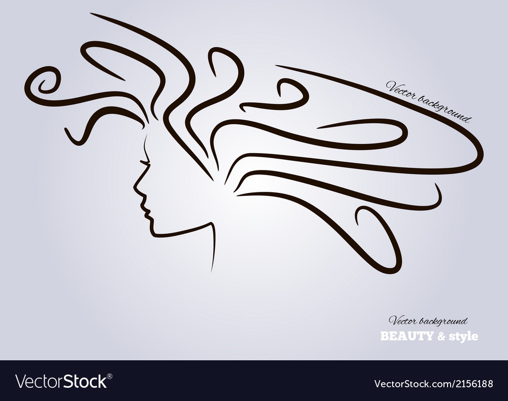 Female heads with beautiful hair vector image