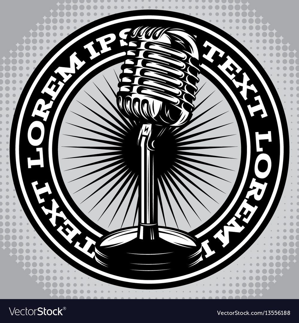 Retro poster with a vintage microphone vector image