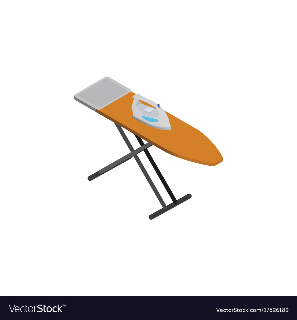 Isolated ironing board isometric cloth iron vector image