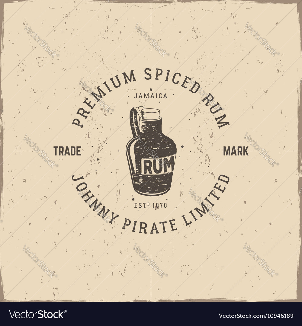 Vintage handcrafted pirate rum emblem alcohol vector image