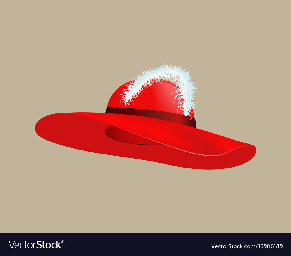 Womans summer red straw hat isolated style vector image