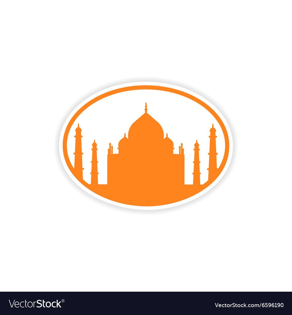 Paper sticker Indian Taj Mahal on white background