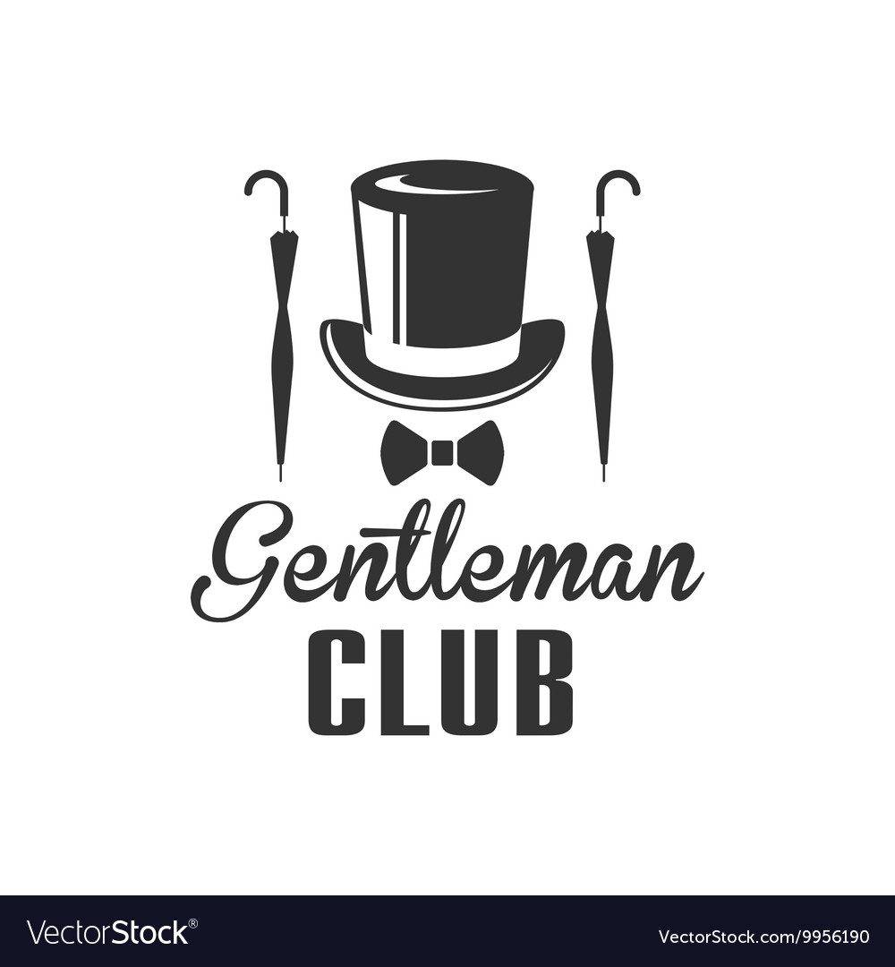gentleman club label design with umbrella vector image. Black Bedroom Furniture Sets. Home Design Ideas