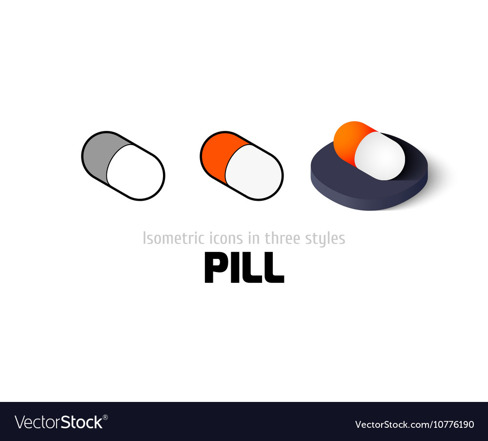 Pill icon in different style vector image