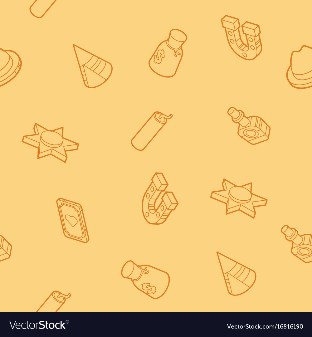 Wild west color outline isometric pattern vector image