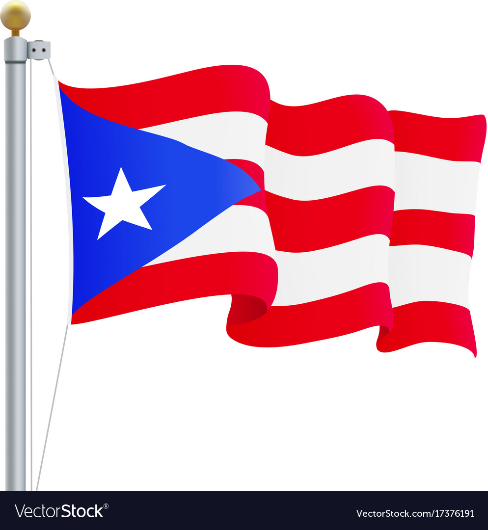 Waving puerto rico flag isolated on a white vector image biocorpaavc Image collections