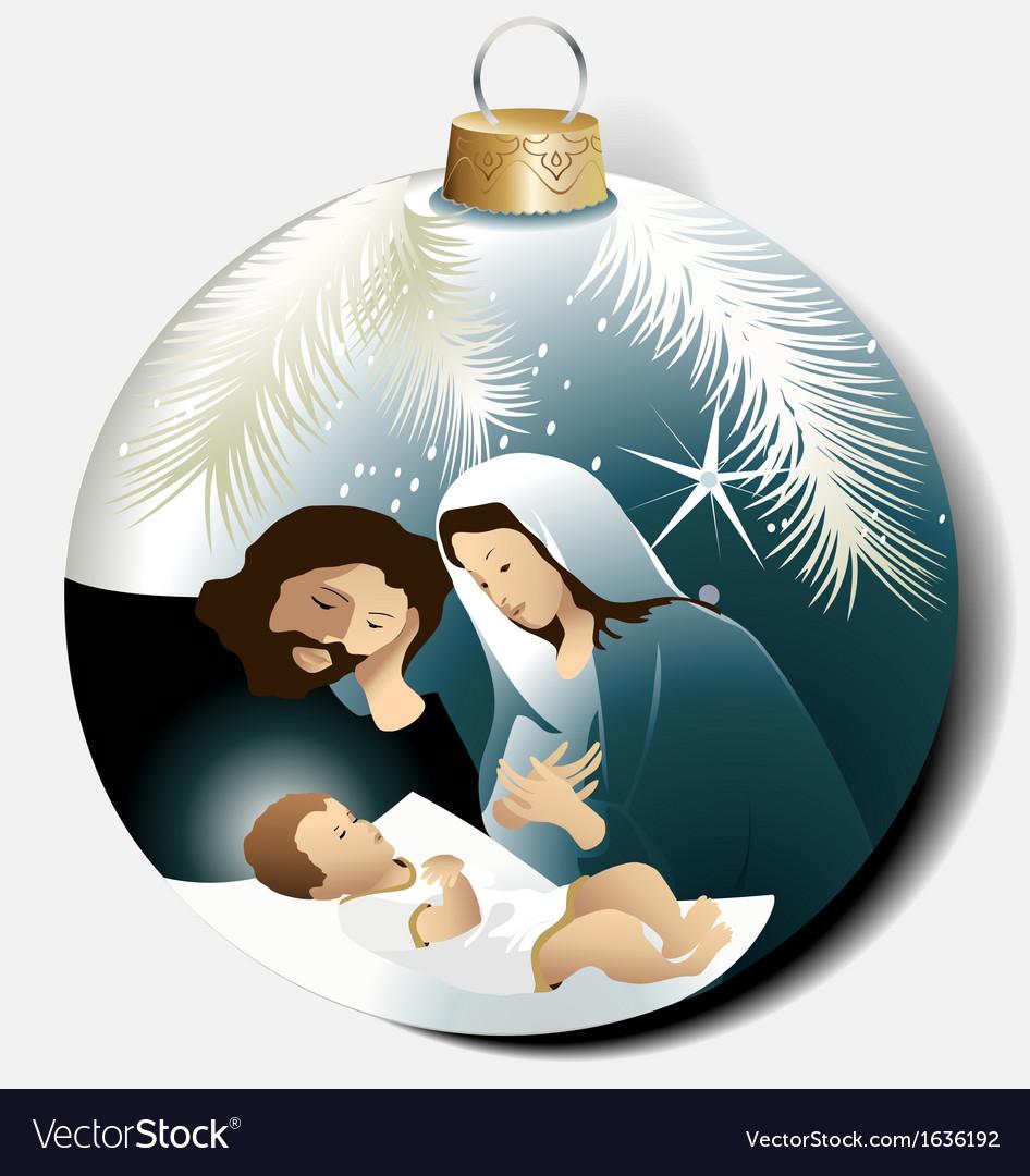 Christmas ball with Holy Family Vector Image