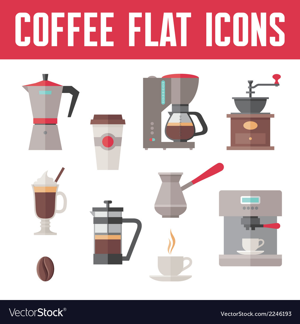 Coffee Icons In Flat Design Style vector image