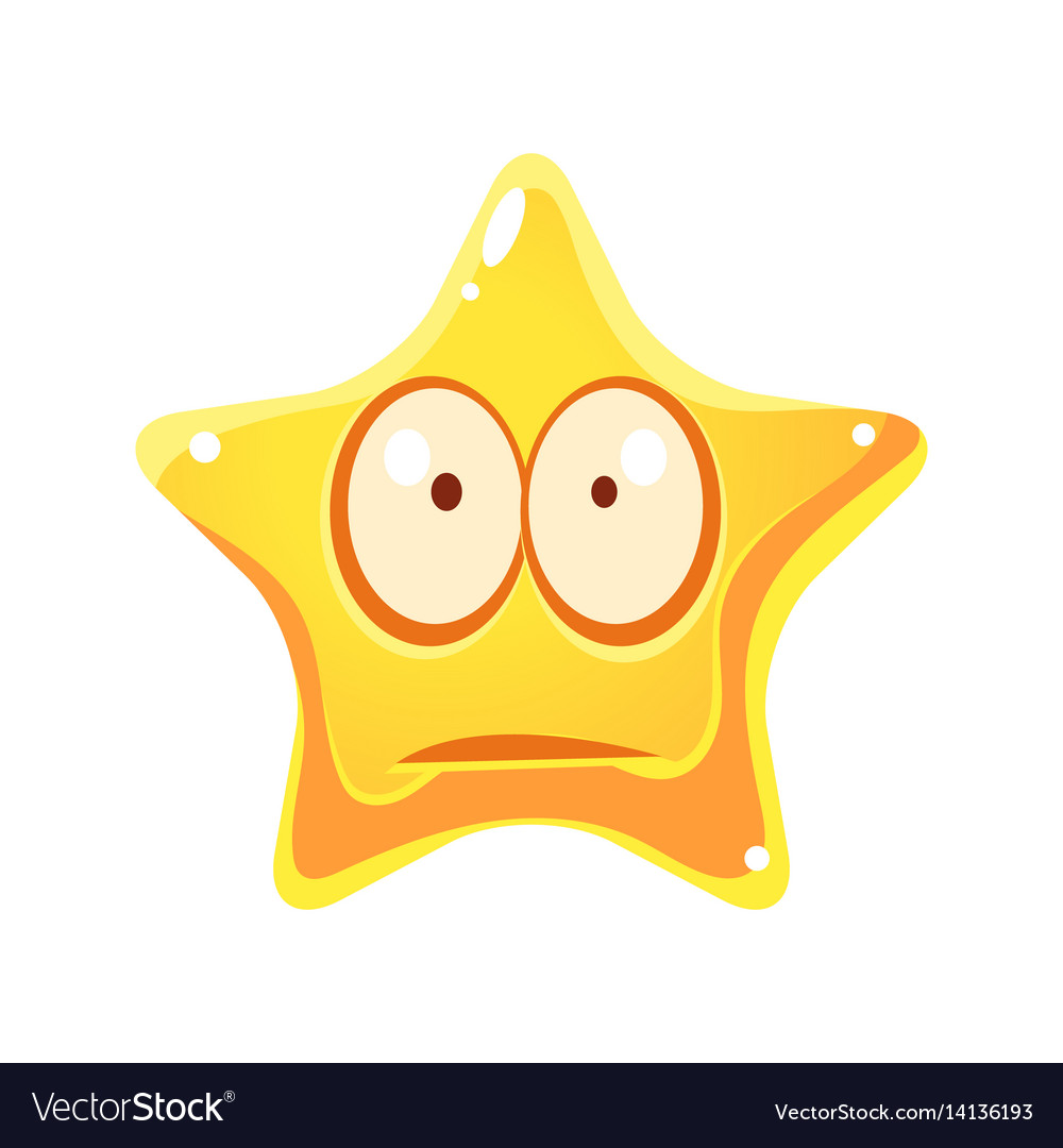 Worry and sad emotional face of yellow star vector image