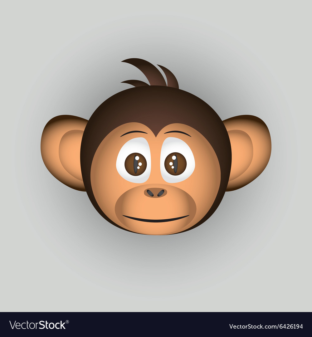 Chimpanzee little monkey head cartoon character vector image