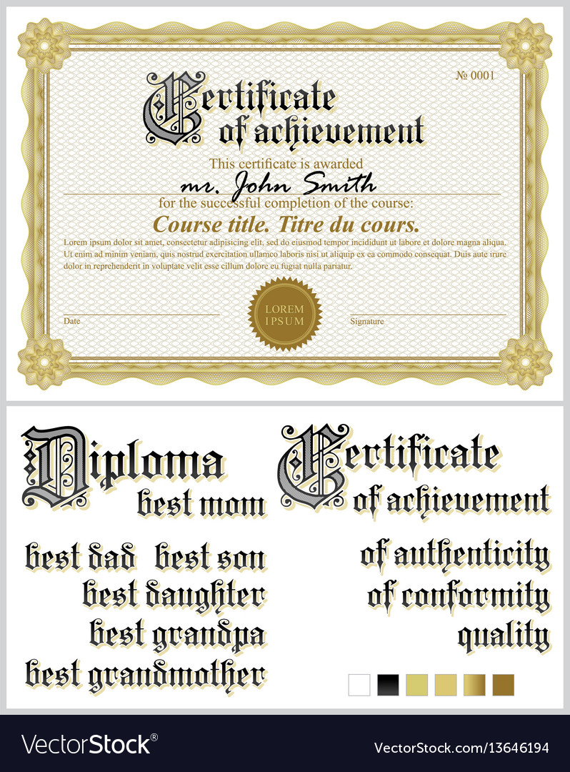 Gold certificate template horizontal guilloche vector image gold certificate template horizontal guilloche vector image yelopaper Gallery