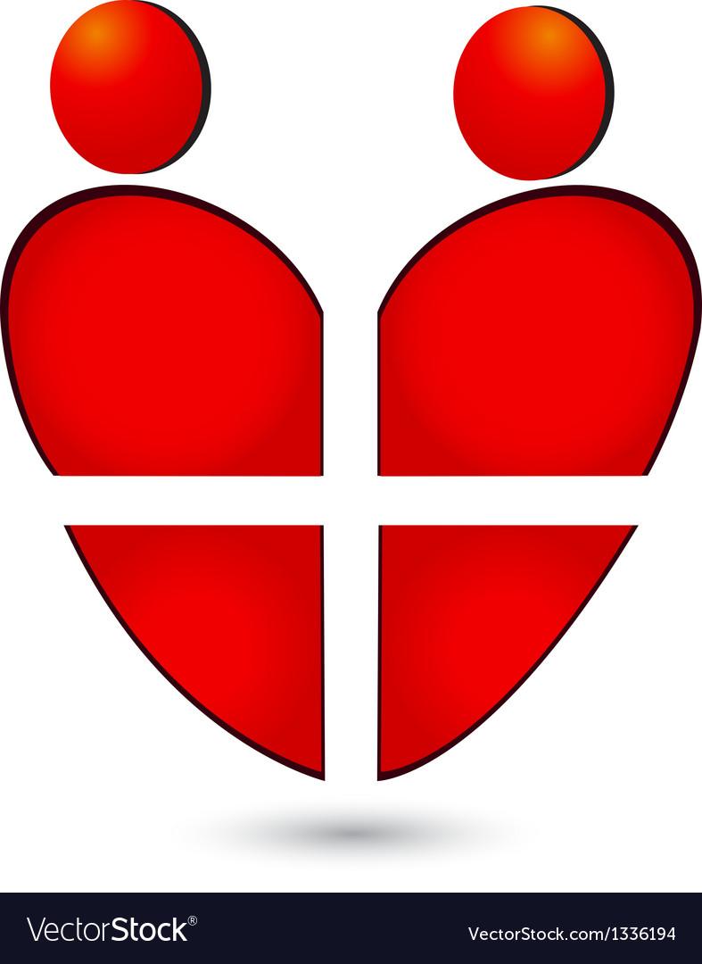 Medical heart teamwork logo vector image