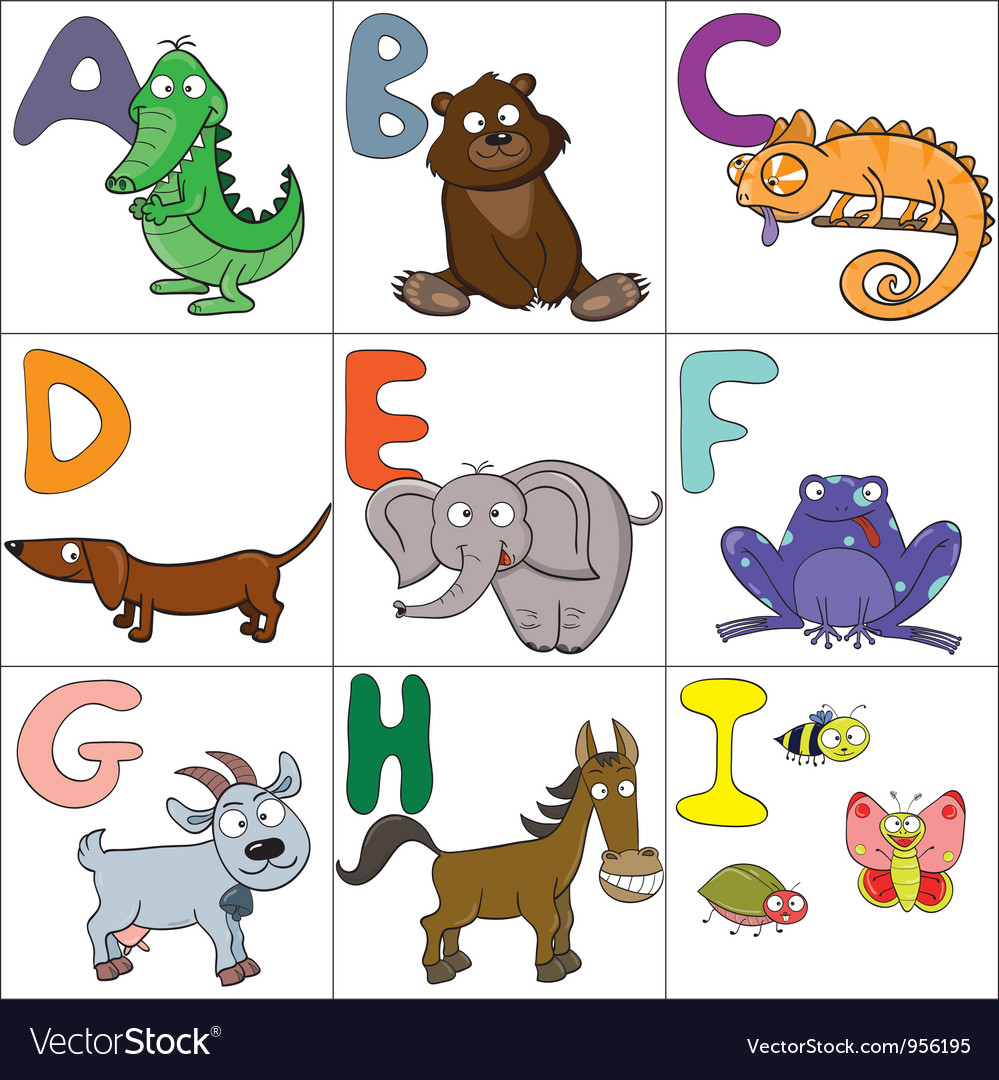 Alphabet with cartoon animals 1 vector image
