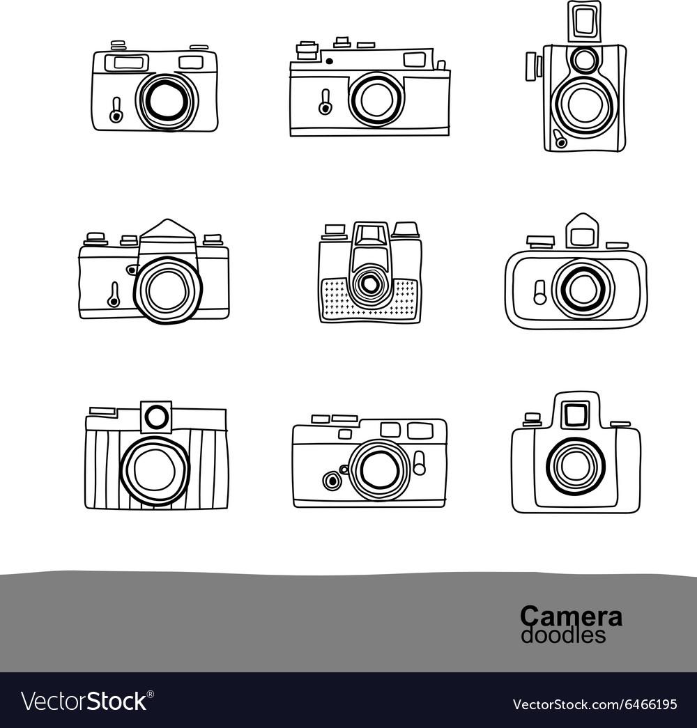 Camera doodles 2 vector image