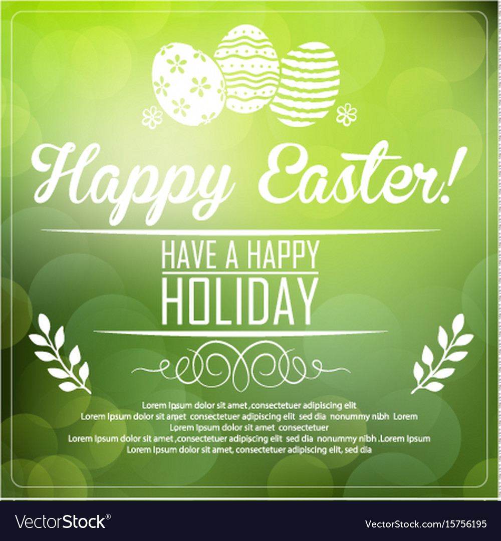 Easter card on green background vector image