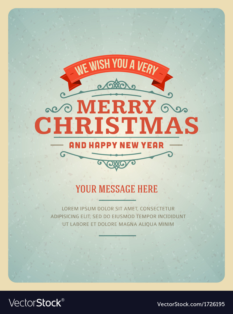 Merry Christmas greeting card ornament decoration vector image